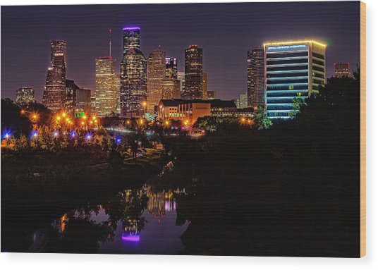 Downtown Houston Wood Print