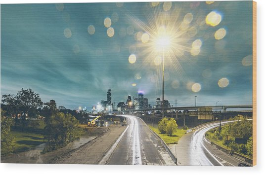 Downtown Houston Flooding At Night Wood Print by Onest Mistic