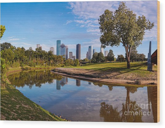 Downtown Houston Panorama From Buffalo Bayou Park Wood Print