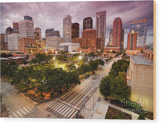 Downtown Houston Skyline During Twilight Wood Print