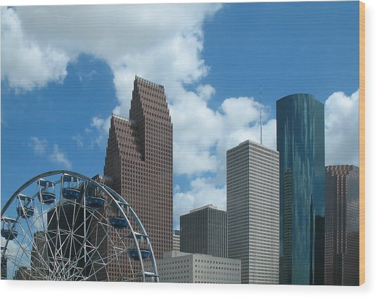 Downtown Houston With Ferris Wheel Wood Print