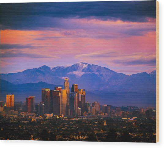 Downtown Los Angeles After Sunset Wood Print