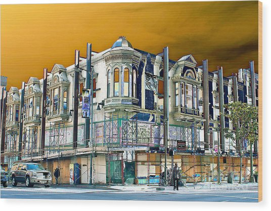 Downtown Los Angeles Corner Facade Wood Print