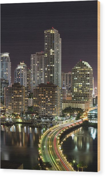 Downtown Miami From Brickell Key Wood Print