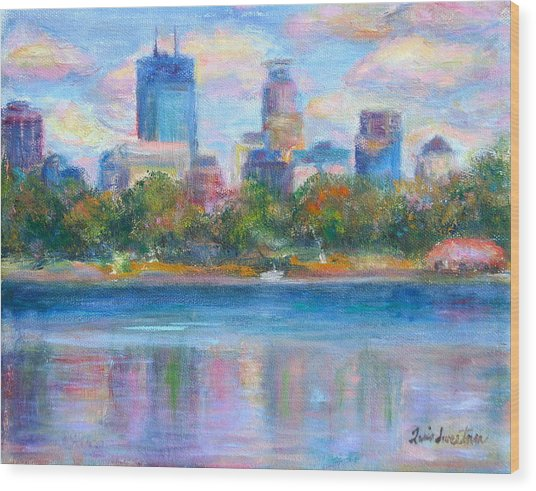 Downtown Minneapolis Skyline From Lake Calhoun Wood Print
