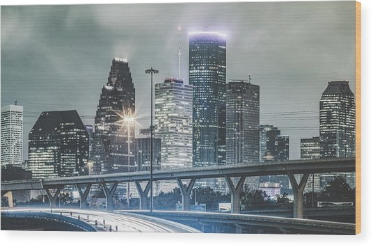 Downtown Of Houston In The Rain At Night Wood Print by Onest Mistic