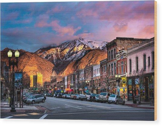 Downtown Ogden Utah Wood Print