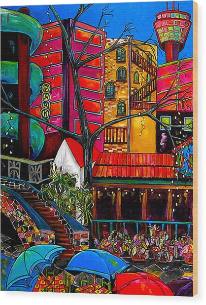 Downtown On The River Wood Print by Patti Schermerhorn