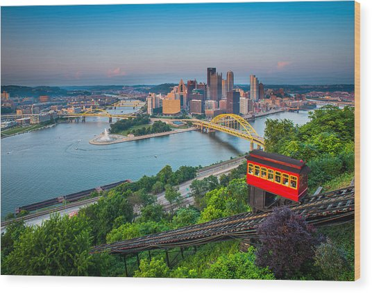 Downtown Pittsburgh, Pennsylvania Wood Print by HaizhanZheng