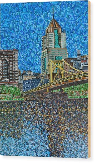 Downtown Pittsburgh - Roberto Clemente Bridge Wood Print by Micah Mullen