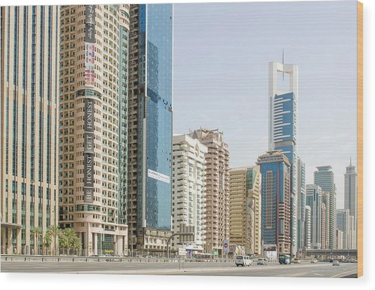 Downtown Skyline Of Dubai, United Arab Wood Print