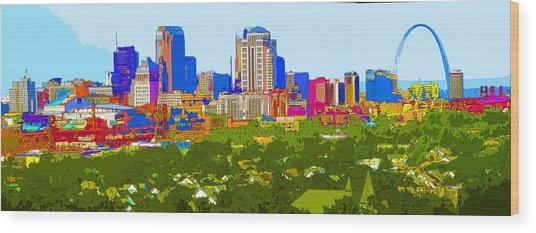 Downtown St. Louis From The Southwest Abstract Wood Print