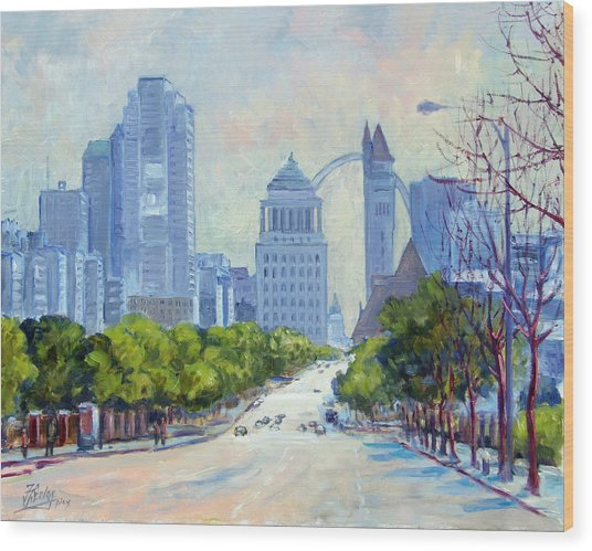 Downtown St.louis From Market Street Wood Print