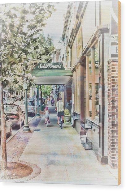 Downtown Sunday Wood Print
