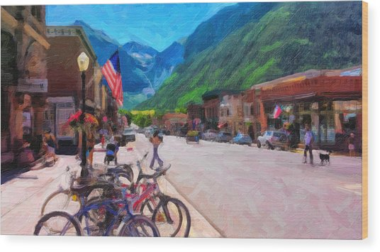 Downtown Telluride Wood Print
