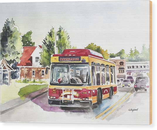 Downtown Trolley Wood Print