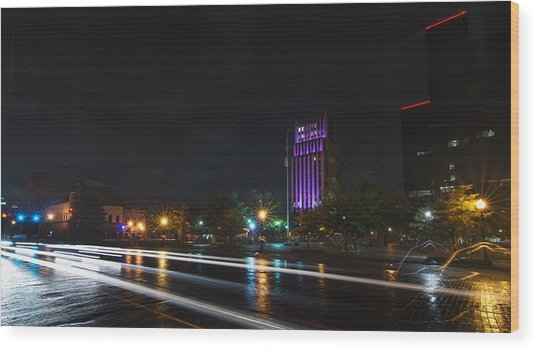 Downtown Tyler Texas At Night Wood Print
