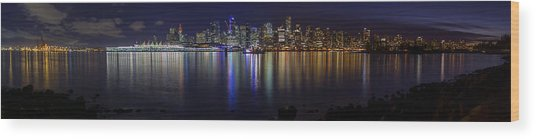 Downtown Vancouver Skyline By Night Wood Print