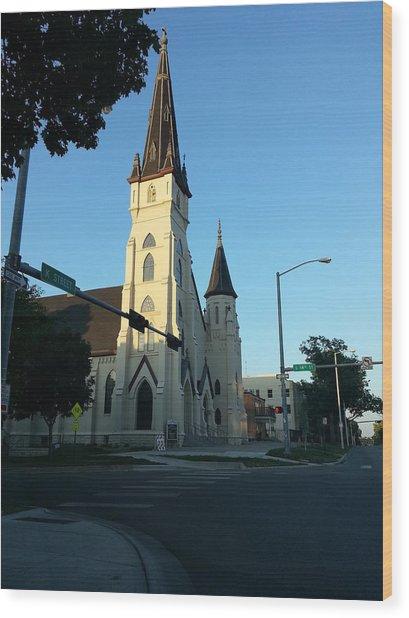 Downtown Worship Wood Print