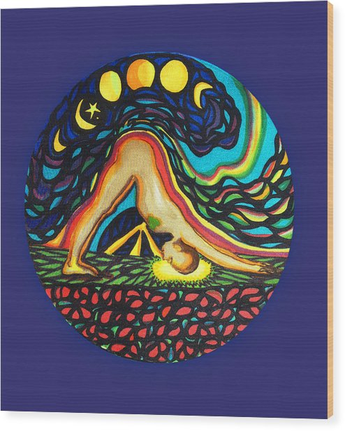 Downward Facing Dog Wood Print
