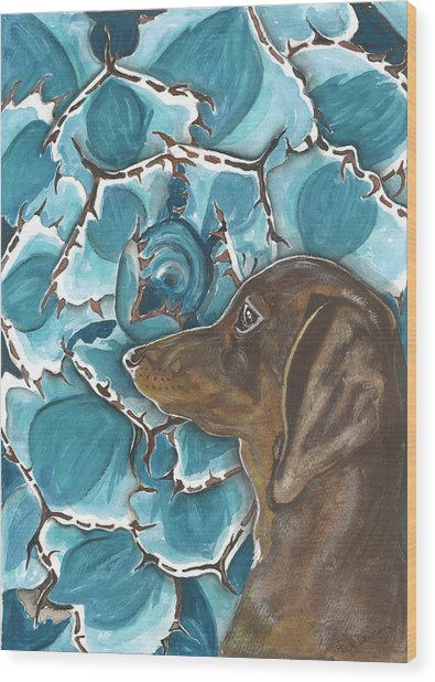 Doxie With Cactus Wood Print by Pat Devereaux