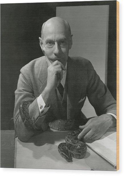 Dr. Raymond Ditmars With His Python Wood Print