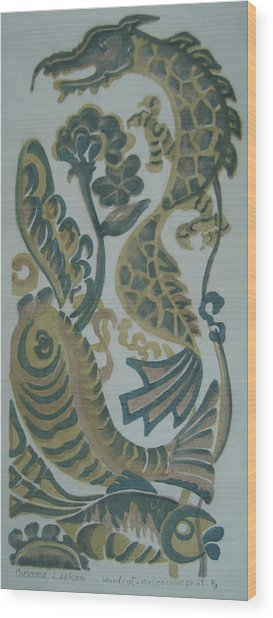 Dragon And Fish Wood Print