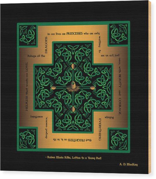 Dragon Egg Celtic Cross Wood Print