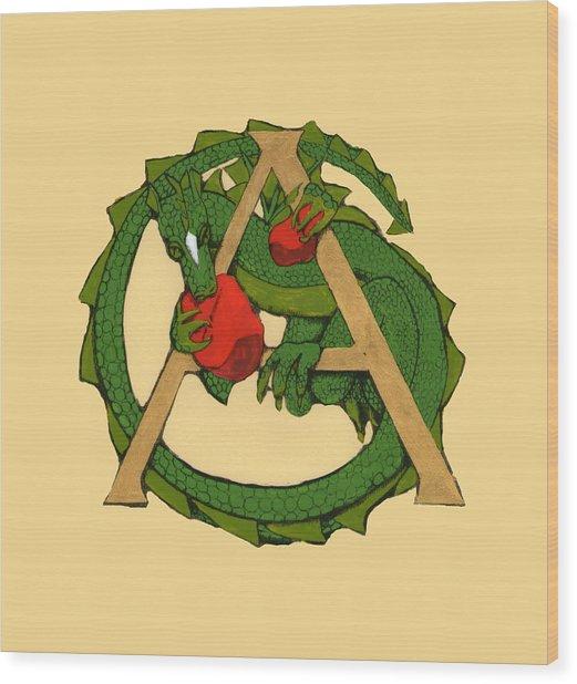 Dragon Letter A Wood Print