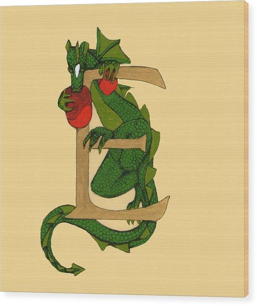 Dragon Letter E Wood Print