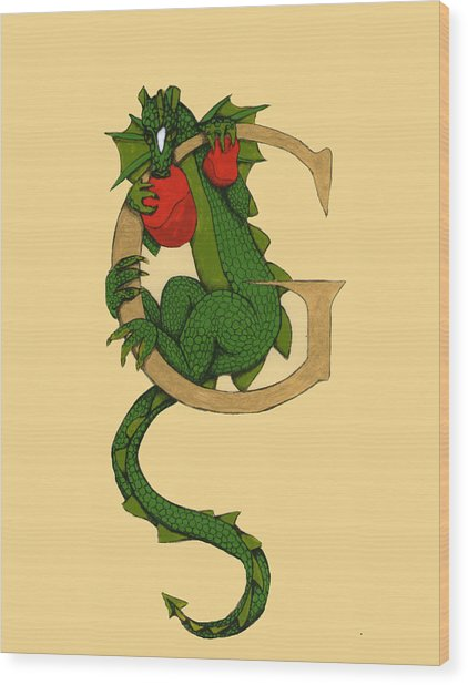 Dragon Letter G Wood Print