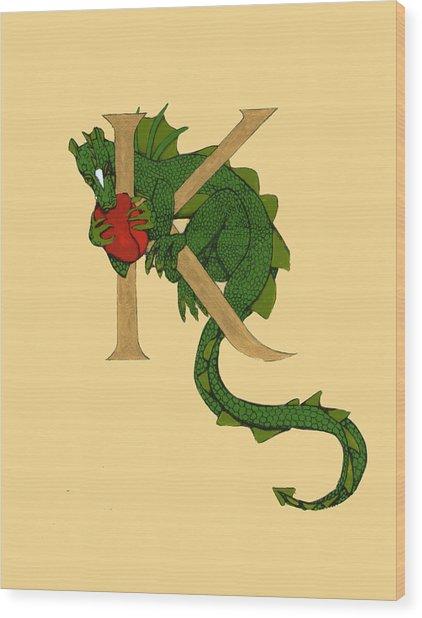 Dragon Letter K Wood Print