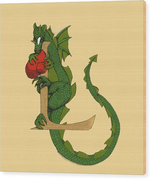 Dragon Letter L Wood Print