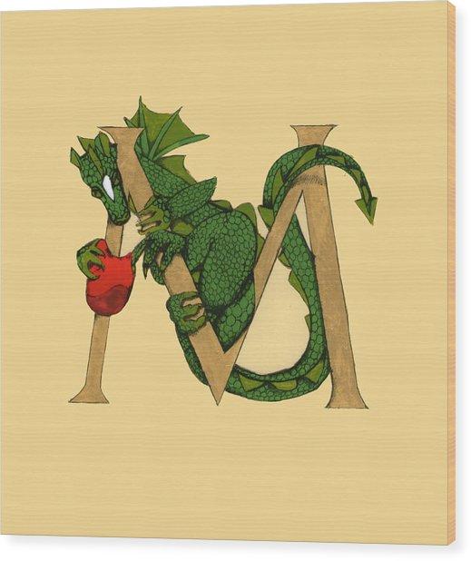 Dragon Letter M Wood Print