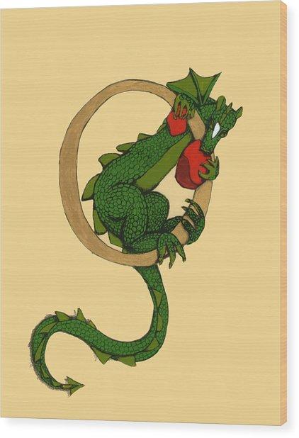Dragon Letter O Wood Print