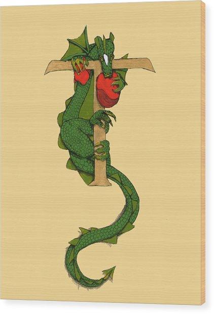 Dragon Letter T Wood Print