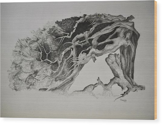 Dragon Tree With People Wood Print by Glenn Calloway
