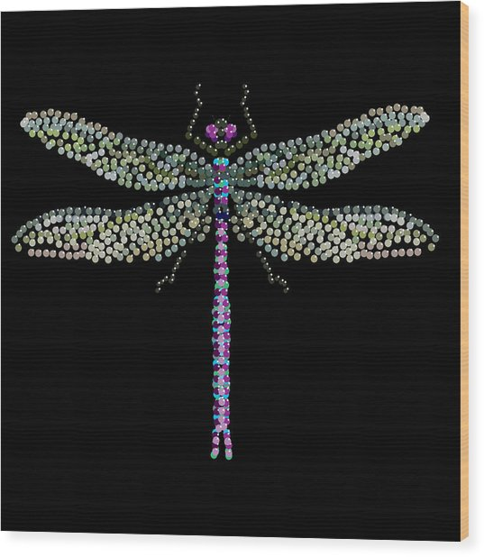 Dragonfly Bedazzled Wood Print