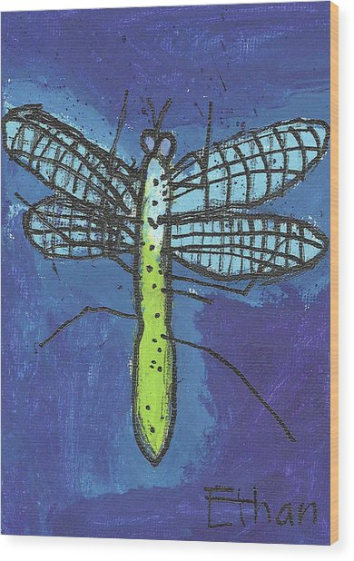 Dragonfly Wood Print by Fred Hanna