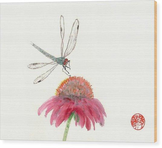 Dragonfly Flower Wood Print