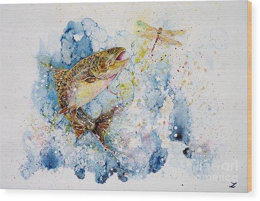 Dragonfly Hunter Wood Print