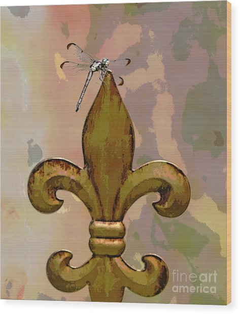 Dragonfly On Fleur De Lis Wood Print