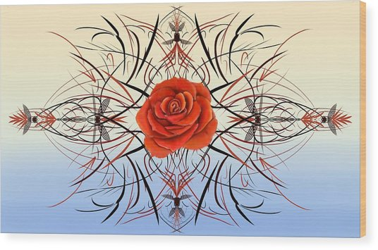 Dragonfly Rose Wood Print