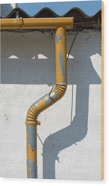 Drainpipe White Structured Wall  Wood Print