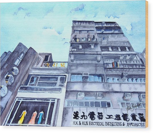 Drama Above The Street Level Shops Hongkong Wood Print by Ruth Bodycott