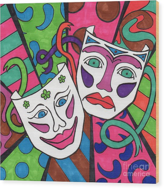 Drama Masks Wood Print