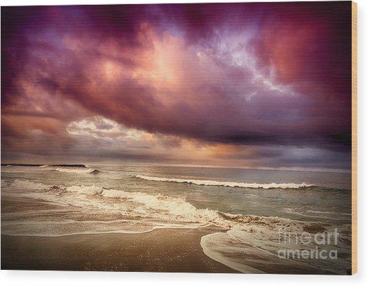 Dramatic Beach Wood Print