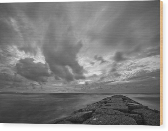 Dramatic Skies Over Galveston Jetty Wood Print