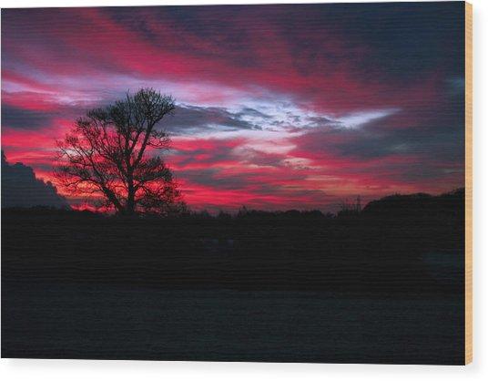 Dramatic Sky At Daybreak. Wood Print
