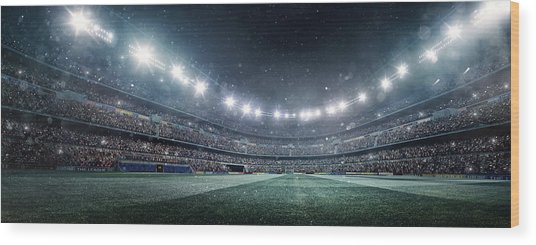 Dramatic Soccer Stadium Panorama Wood Print by Dmytro Aksonov